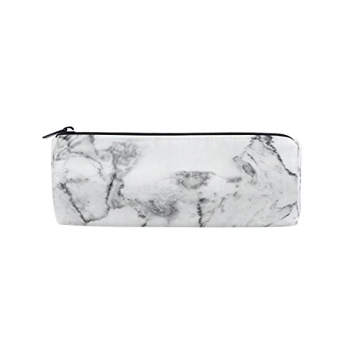 Round Pencil Case Bag White Marble Texture Pattern Multi FunctionSchool Supplies Organizer Pouch Bag with Zipper Closure
