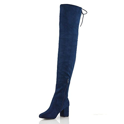 ESSEX GLAM Mujer Botas Altas De Muslo Con Cordones Señoras Bajo Talón Cada Día Zapatos Armada Gamuza Sintética