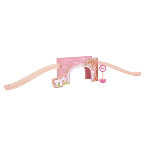 Bigjigs Rail Pink Arched Bridge - Other Major Wooden Rail Brands are Compatible]()
