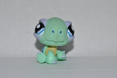 Turtle (Green, Purple Eyeshadow, Blue Eyes) Littlest Pet Shop (Retired) Collector Toy - LPS Collectible Replacement Figure - Loose (OOP Out of Package & Print) Barbie Eye Shadow