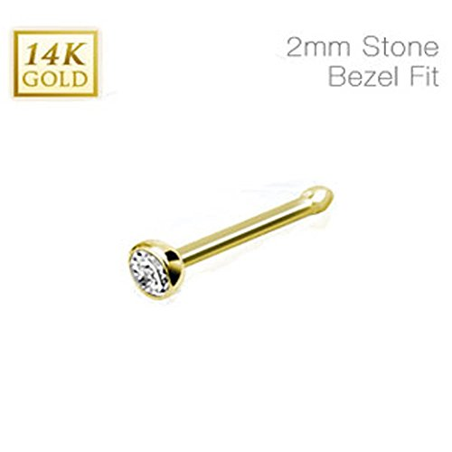 14 Karat Solid Yellow Gold Nose Stud Ring with 2mm Bezel Set Clear Cz Ball, Thickness: 20 GA
