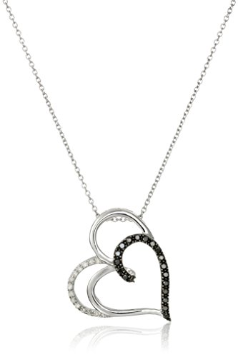 Sterling Silver Black and White Diamond Double-Heart Pendant Necklace (1/4 cttw), 18""
