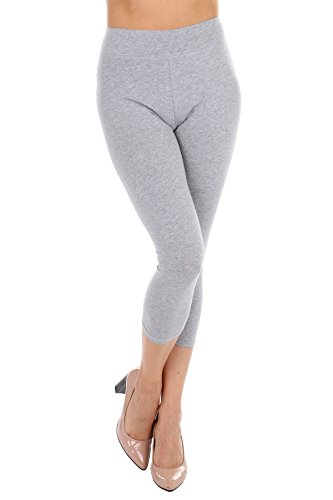 Cotton Spandex Leggings Capri & Mid Thigh Boyshorts- Breathable, Lightweight, Soft Cotton Fabric (H. Grey Capri, 1X)