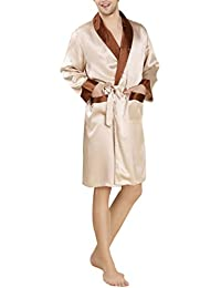 Mens Kimono Long Robe Pure Silk Nightgown Sleepwear