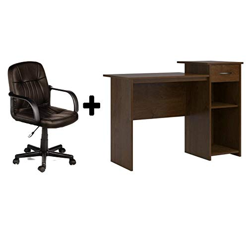 Student/Office Home Desk in Northfield Alder + Leather Mid-Back Chair in Brown - Bundle Set