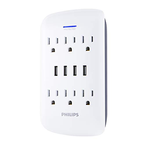 (Philips USB Wall Charger, Surge Protector, 6 Grounded Outlets, 4 USB Ports, 4.2AMP, 21Watt, 900 Joules, Charging Station, White, SPP6463WG/37)