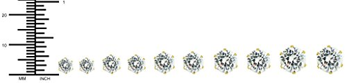 6 mm - 10 mm Gold Plated Surgical Steel Round CZ Stud Earrings for Men