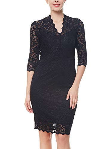 91e85c08f19f8 Women's Vintage Short Sleeve Floral Lace Work Business Party Bodycon Pencil  Dress(Black,L)