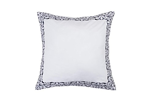 on Pure White Euro/Square Size Pillow Sham: Decorative Floral Scroll Stitch 26in x 26in (Navy) ()