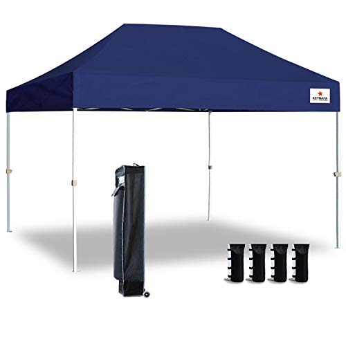 Keymaya 10'x15' Ez Pop Up Canopy Tent Commercial Instant Shelter Canopies Bonus Heavy Duty Weight Bag 4-pc Pack (Navy Blue) (Navy Canopy Tent)