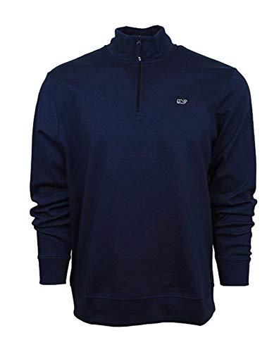 Vineyard Vines Men's Jersey 1/4 Zip Pullover Shirts (X-Small, Blue Blazer)