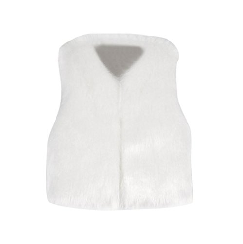 vmree Girl Faux Fur Vest, Kids Fur Autumn Winter Waistcoat Girls Thick Clothes (7T, -