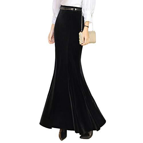 Autumn Winter Skirt Velvet Black Long Mermaid Skirt Free Belt Velour Skirt,Black,S