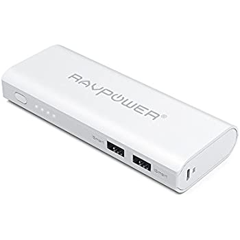 Portable Charger 10400 RAVPower 10400mAh (2A Input, 4.5A Dual USB Output) Power Bank External Battery Pack with iSmart Technology for iPhone, iPad, Smartphones and Tablets (White)