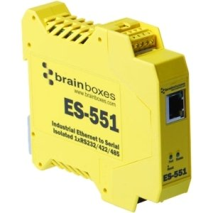 """Brainboxes Limited - Brainboxes Es-551 Ethernet To Serial Device Server - 1 X Network (Rj-45) - 1 X Serial Port - Fast Ethernet - Rail-Mountable """"Product Category: Network & Communication/Terminal & Device Servers"""" by BRAINBOXES"""