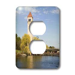 3dRose Lsp/_96046/_6 Wa Us48 Jwi1737 Jamie and Judy Wild 2 Plug Outlet Cover Clock Tower By The Spokane River Spokane