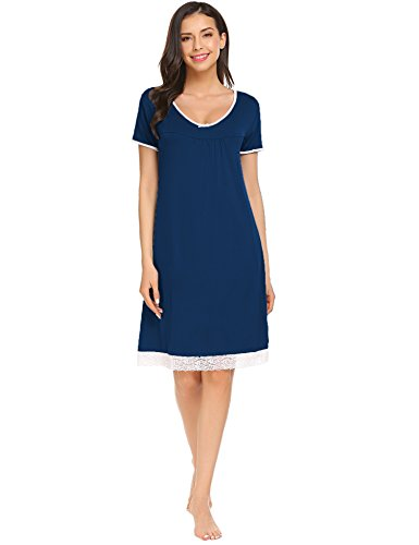 Sweetnight Women Nightgown Short Sleeve Scoop Neck Sleepwear Lace Trim Sleep Shirt Night Dress