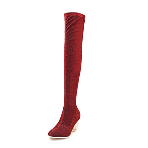 Hoxekle Women Over The Knee Boots Winter Crystal Heels Stretch Boots Sexy Party Date Ladies Fashion Thigh High Shoes Red