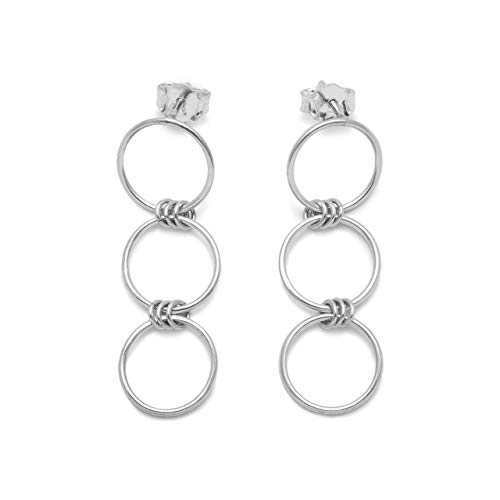 Handmade Sterling Silver 925 Triple Open Circle Link Dangle Stud Post Earrings, Light Weight Three Ring Geometric Design, Polished finish (1.5 inches long)