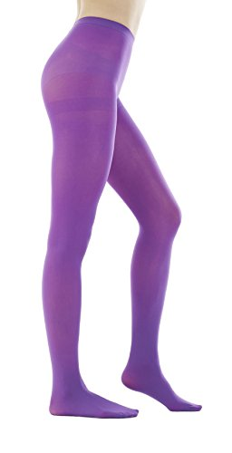 STYLEGAGA Women's 80 Denier Semi Opaque Solid Color Footed Pantyhose Tights 2Pair or 6Pair (M/L, Purple)