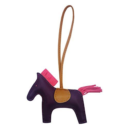 - Bag Charm for Women Purse Charm Horse Leather Keychain Handbag Accessories (Purple)