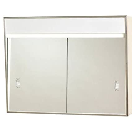 701L Series Sliding Medicine Cabinet, 2 Light With Courtesy Outlet, 24u0026quot;