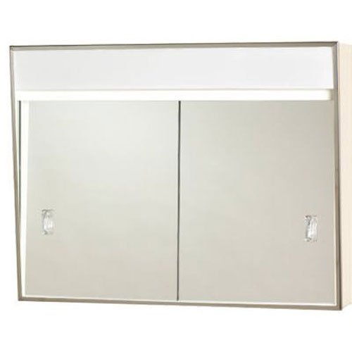 701L Series Sliding Medicine Cabinet, 2 Light With Courtesy Outlet, 24