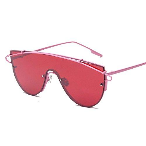 Mujer Rosa De Gafas Espejo Sol Frío red Color Vintage De Sol Enormes Rosa Lente Gafas TIANLIANG04 De Femenino De lens Masculino Metal Unas wtRqdpF