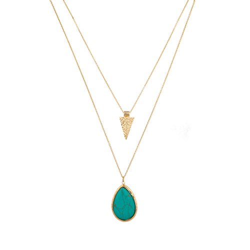 Lux Accessories Turquoise Stone Teardrop Tear Drop Arrowhead Arrow Necklace Set (Accessories Womens Necklace)