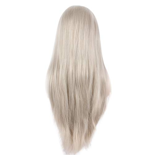 - Clearance!! Grey Lace Front Wigs | Inkach Old Lady Long Silky Straight Wig | Grandma Cosplay Costume Granny Human Hair Wigs for Black Women Synthetic Fiber Hairpiece (Gray)