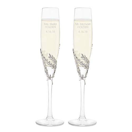 Things Remembered Personalized Athena Pavé Champagne Flute Set with Engraving Included ()