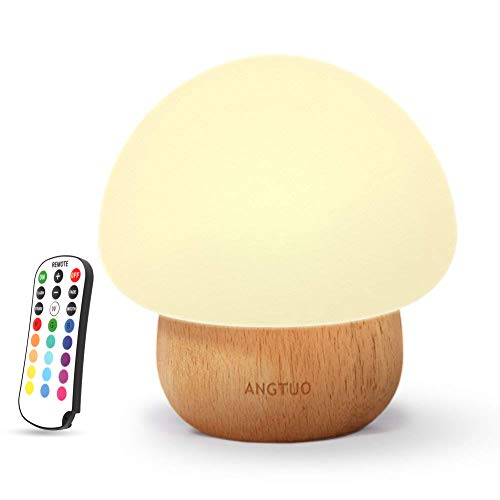 Night Lights for Kids, ANGTUO Baby LED Mushroom Night Lamp, Soft Silicone Lampshape, 100% Rubber Wood, 4 Light Modes and 16 Color by Wireless Remote - US Plug