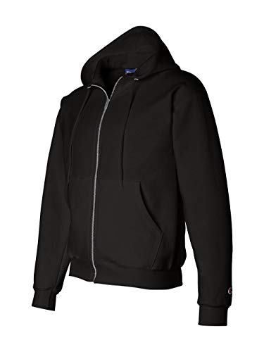 Champion Adult 50/50 Full-Zip Hooded Sweatshirt, Black, Large (Adult Black Zip Hoodie)