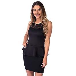 KRISP® Womens Peplum Dress Pencil Wiggle Lace Bodycon Party Evening
