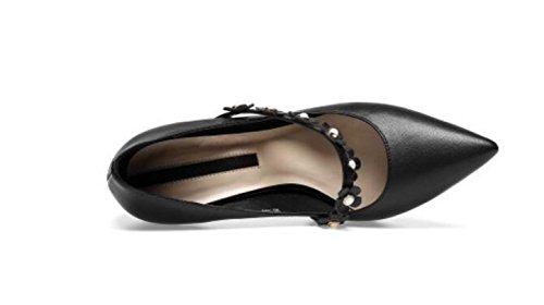 Flores De MUYII Zapatos Las Con Bombas Tacones De Mujeres Profundos Poco Altos De Bandas Black Cuero qqEp1rPwU