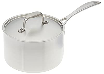 Stainless Steel Saucepan-American Kitchen 3-Quart Premium Stainless Steel Saucepan - Superior Heat Conductivity - Tri-Ply Construction - 6-In Stainless Steel Lid - Dishwasher Safe - Made in USA