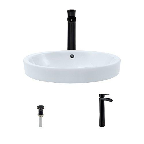 Bronze Ensemble - V22182-White Porcelain Vessel Sink Antique Bronze Ensemble with 731 Vessel Faucet (Bundle - 3 Items: Sink, Faucet, and Pop Up Drain)