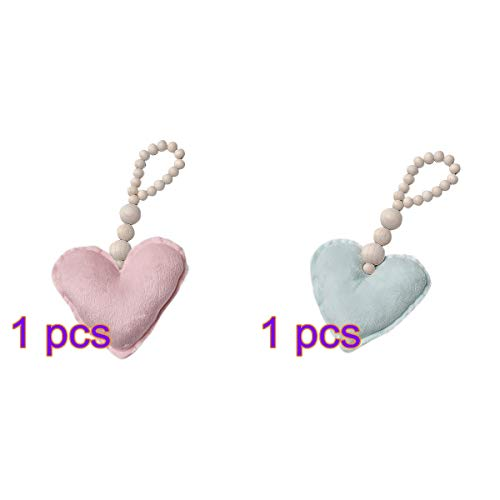 Vosarea 2PCS Wood Bead Garland with Heart Pendant Beaded String Ornament for Wall Baby Photography Decoration