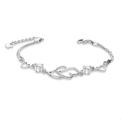 925 Pur Argent Bracelet, Coeur avec AAA Zircon, Platine, 165mm