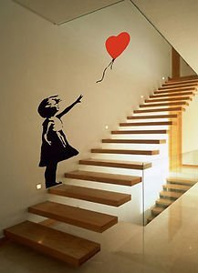 Banksy Style Girl With Balloon, Sticker, Wall Art, Mural, Giant, Large