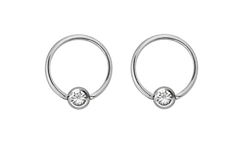Pair of 16g 8mm Every-Day Surgical Steel Clear Jeweled Captive Bead Ring Body Piercing Hoops