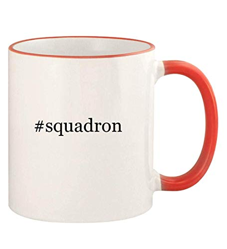 #squadron - 11oz Hashtag Colored Rim and Handle Coffee Mug, Red