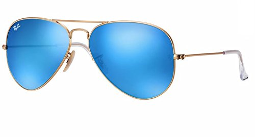 Ray Ban RB3025 AVIATOR LARGE METAL 112/17 58M Matte Gold/Multi Blue Mirror Sunglasses For Men For Women