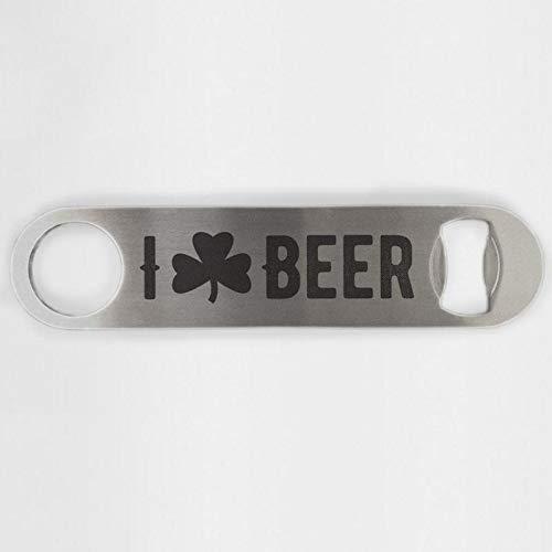 I Love Beer Shamrock Clover Stainless Steel Heavy Duty Flat Bar Key Beer Laser Etched Bottle Opener