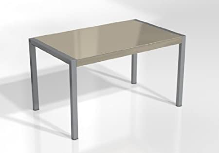 Mesa Extensible Concept - Encimera Cristal Tortola Brillo/Patas Aluminio, 120X80 cms: Amazon.es: Hogar