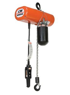 Lodestar Electric Chain Hoist, 1/2 Ton, 1-Speed, 10 Lift, 16 FPM, Rigid Hook mount, 115-1-60, 1 (10 Fpm Lift)