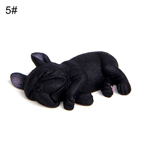LBgrandspec Learning Toys 2inch PVC Sleeping Lying Dog French Bulldog Doll Figurine Toy Car Home Decor