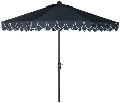 Safavieh PAT8006A Outdoor Collection Elegant Valance Auto Tilt Umbrella
