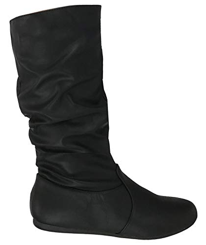 Wells Collection Womens Wonda Boots Soft Slouchy Flat to Low Heel Under Knee High, Black PU, - Womens High Heel Knee Boots