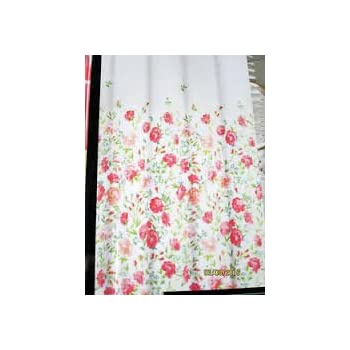 Cynthia Rowley Floral Cotton Shower Curtain Rose Pink Blue Green